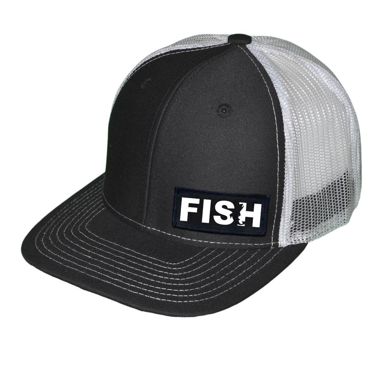 Fish Catch Logo Night Out Woven Patch Snapback Trucker Hat Black/White (White Logo)