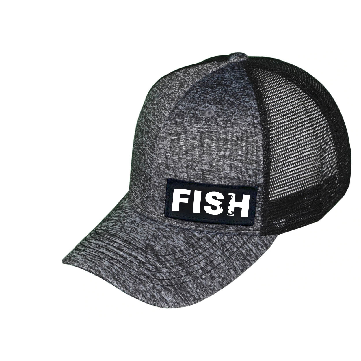 Fish Catch Logo Night Out Woven Patch Melange Snapback Trucker Hat Gray/Black (White Logo)