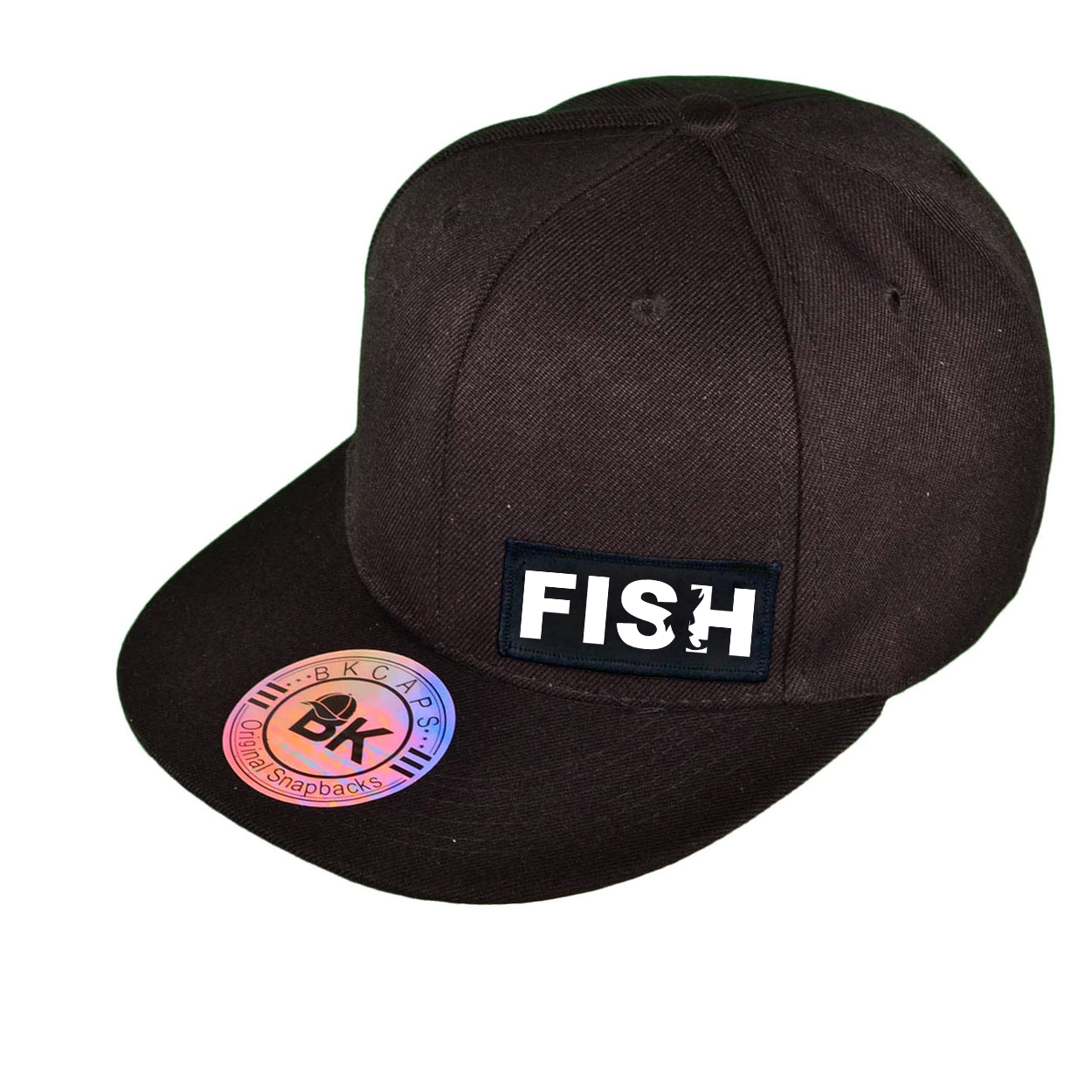 Fish Catch Logo Night Out Woven Patch Snapback Flat Brim Hat Black (White Logo)