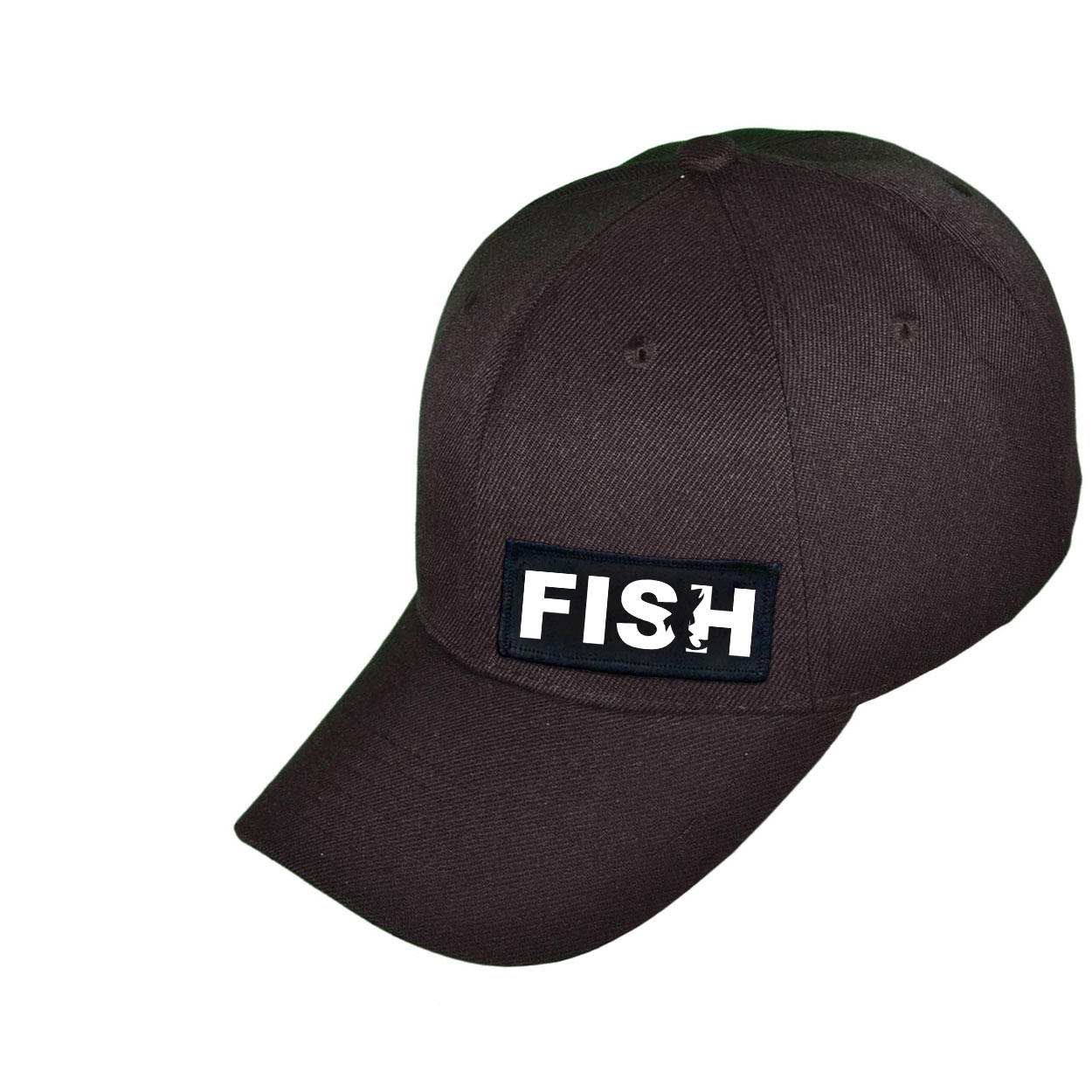 Fish Catch Logo Night Out Woven Patch Snapback Hat Black (White Logo)