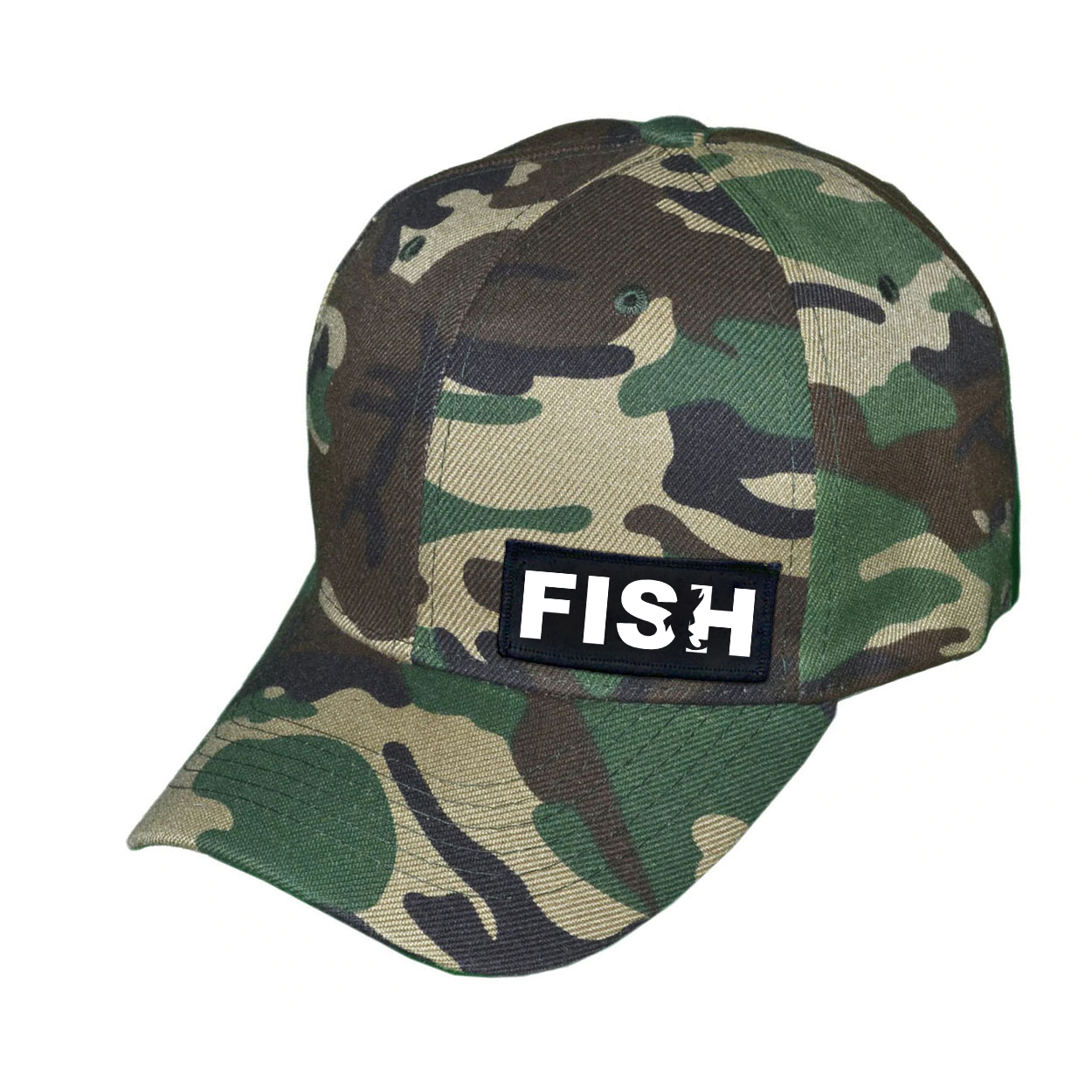 Fish Catch Logo Night Out Woven Patch Hat Camo (White Logo)