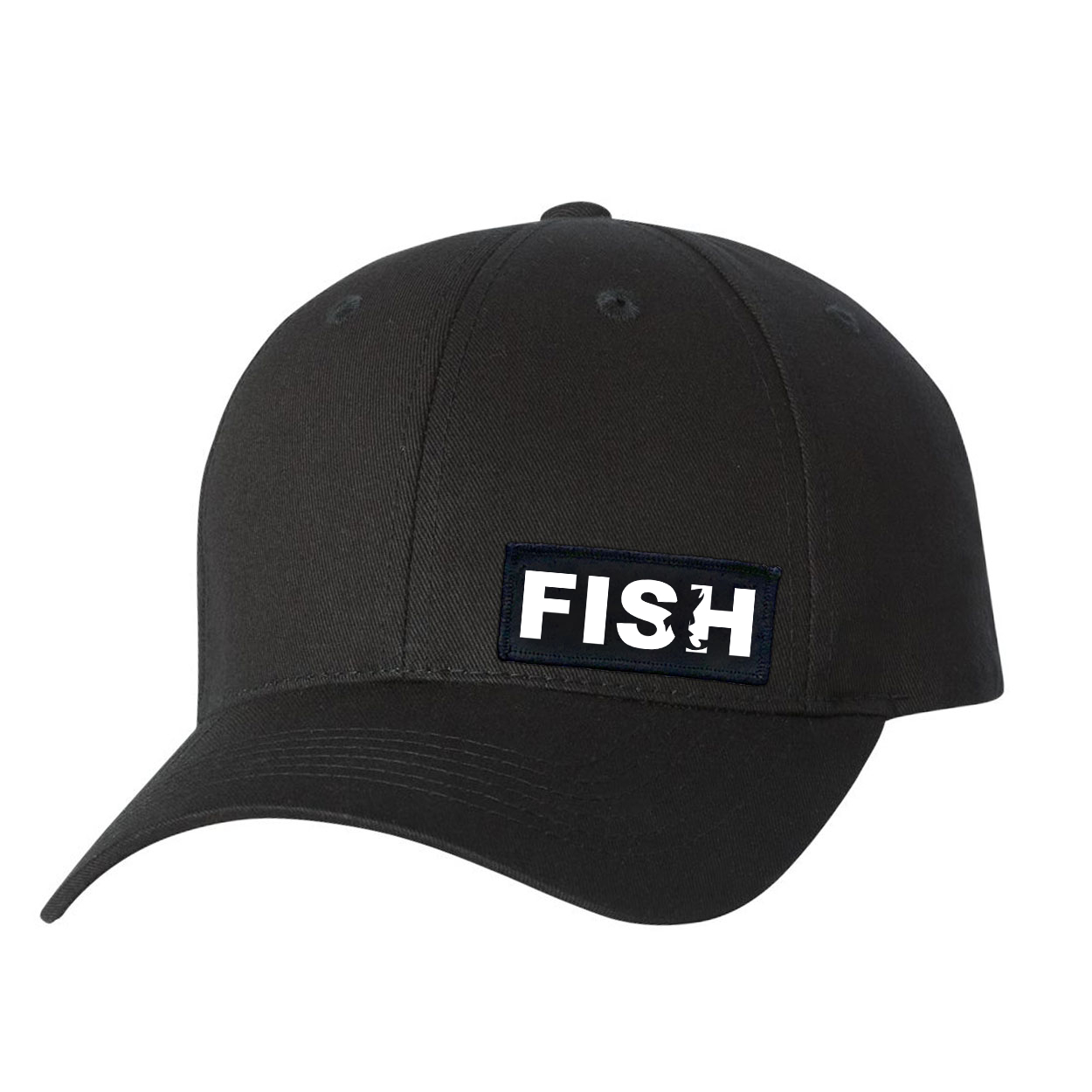 Fish Catch Logo Night Out Youth Woven Patch Hat Black (White Logo)