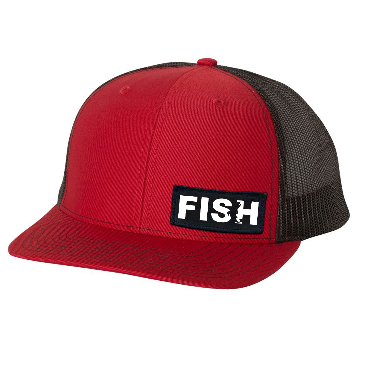 Fish Catch Logo Night Out Woven Patch Snapback Trucker Hat Red/Black (White Logo)
