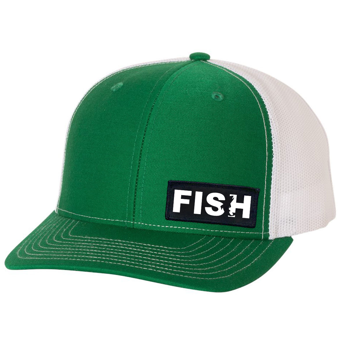 Fish Catch Logo Night Out Woven Patch Snapback Trucker Hat Green/White (White Logo)