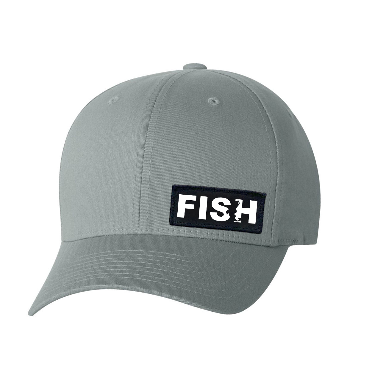 Fish Catch Logo Night Out Woven Patch Flex-Fit Hat Gray (White Logo)