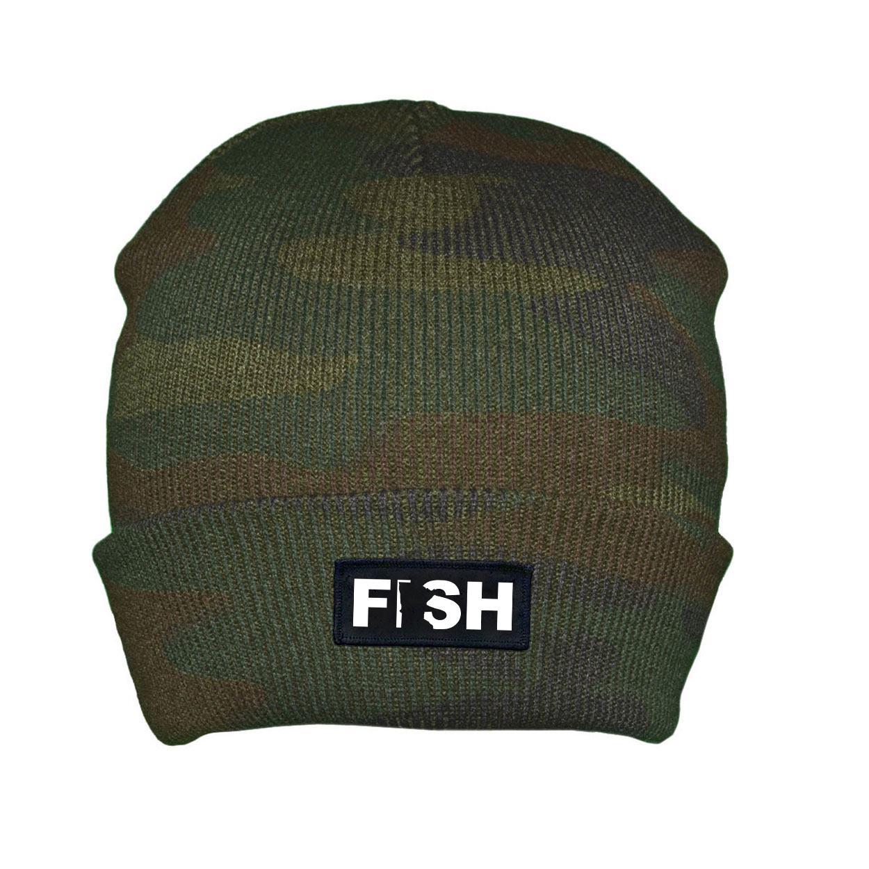 Fish Minnesota Night Out Woven Patch Roll Up Skully Beanie Camo (White Logo)
