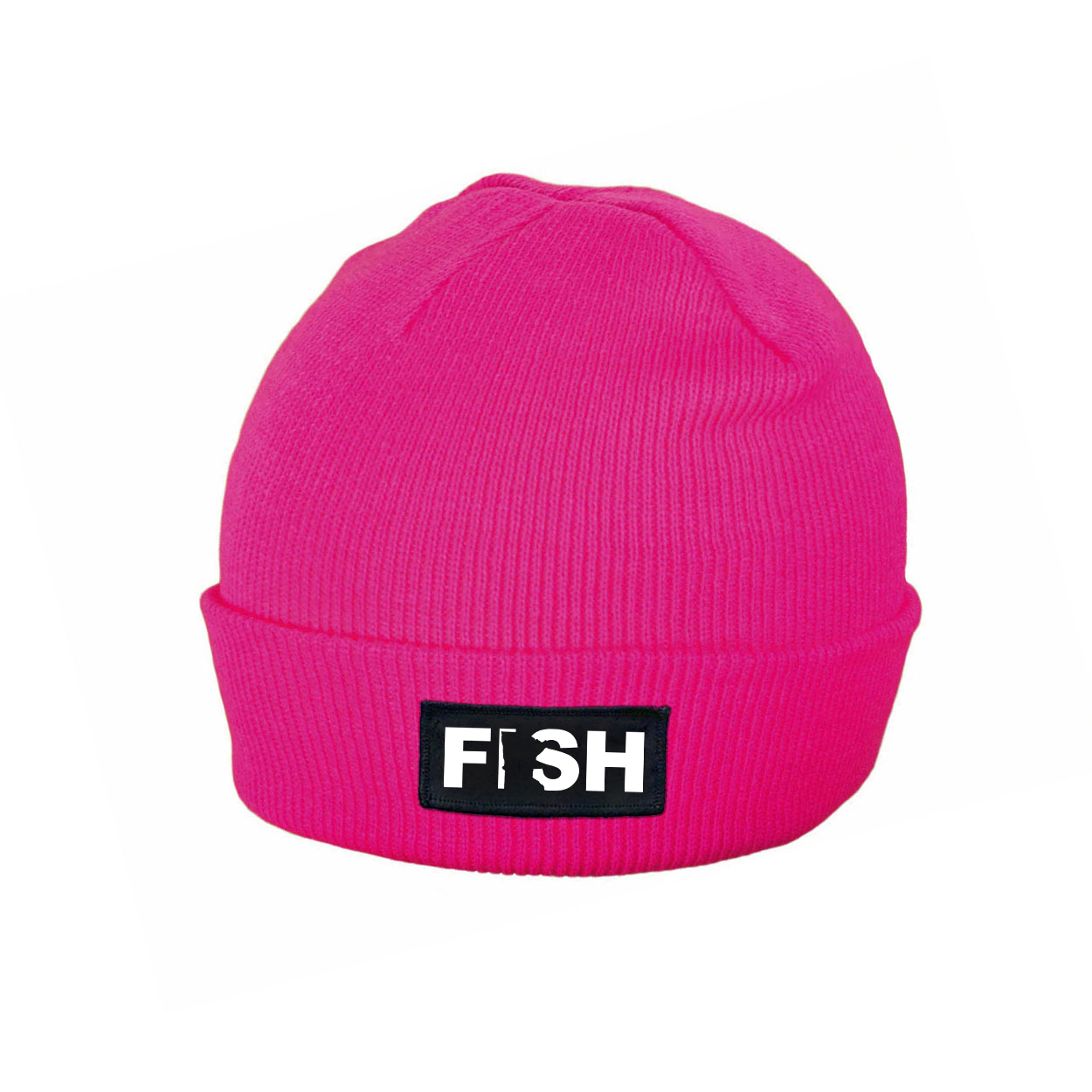 Fish Minnesota Night Out Woven Patch Roll Up Skully Beanie Heather Fuchsia (White Logo)