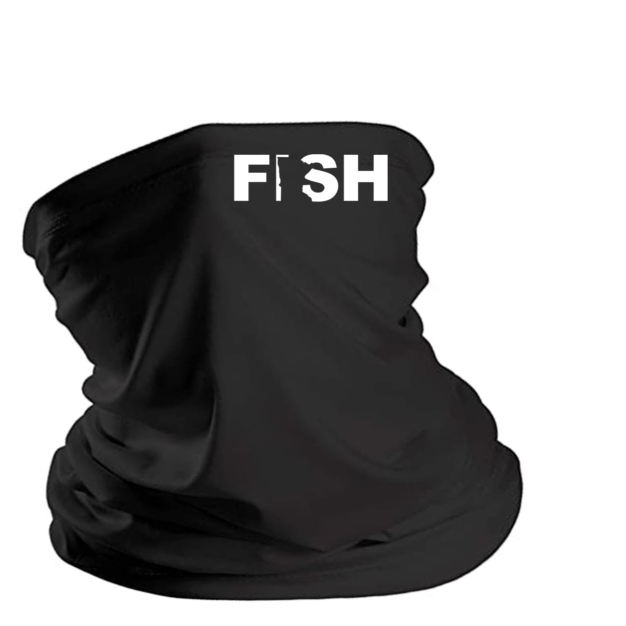 Fish Minnesota Night Out Lightweight Neck Gaiter Face Mask Black (White Logo)