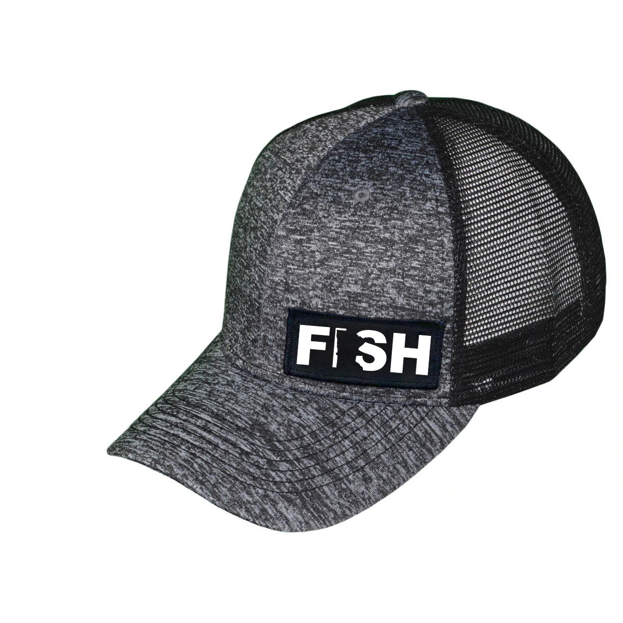 Fish Minnesota Night Out Woven Patch Melange Snapback Trucker Hat Gray/Black (White Logo)