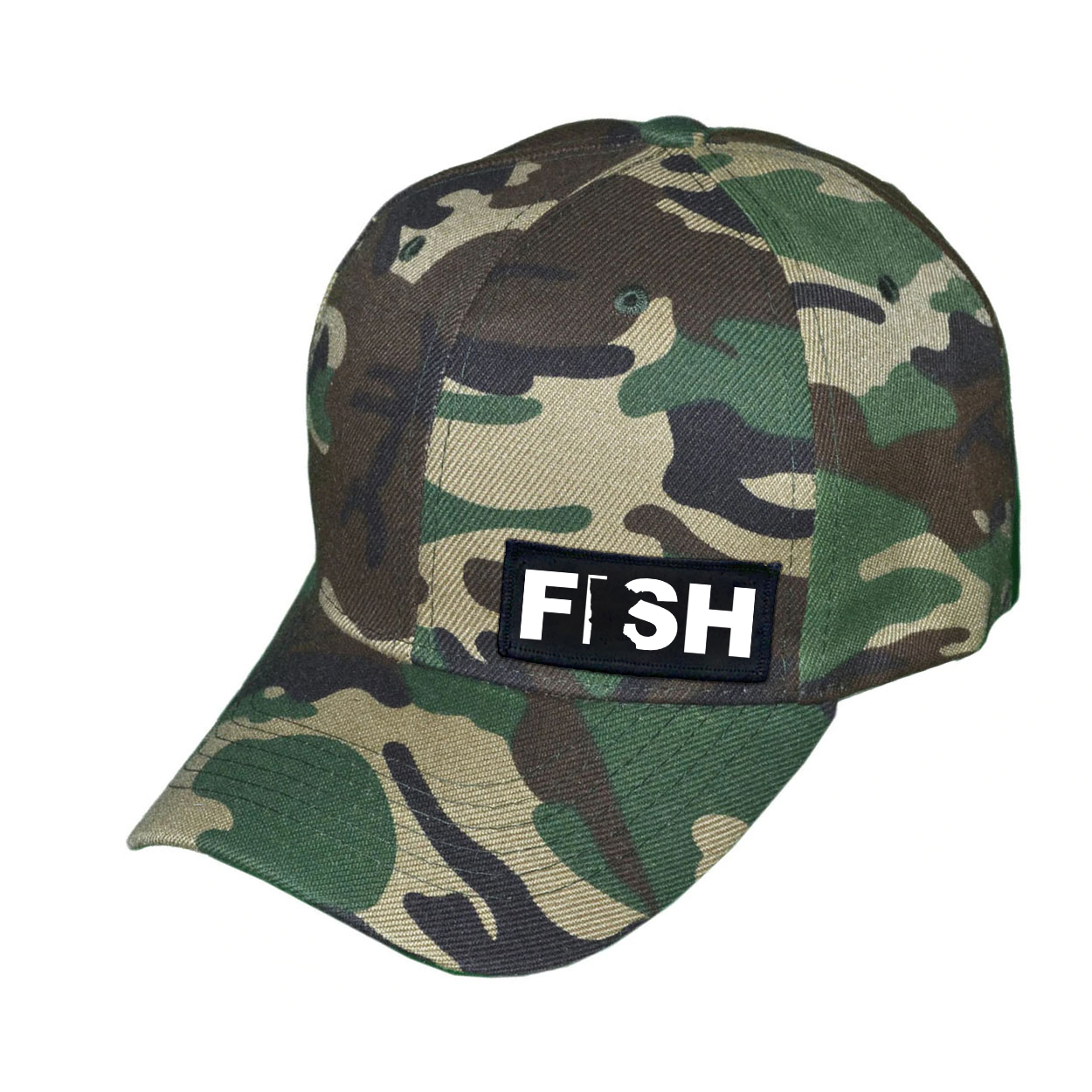 Fish Minnesota Night Out Woven Patch Hat Camo (White Logo)