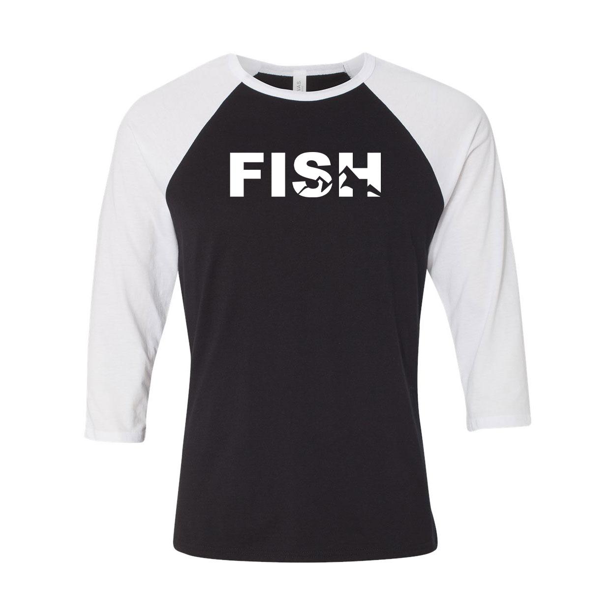 Fish Mountain Logo Classic Raglan Shirt Black/White (White Logo)