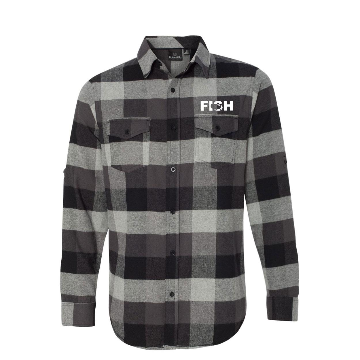 Fish United States Classic Unisex Long Sleeve Flannel Shirt Black/Gray (White Logo)
