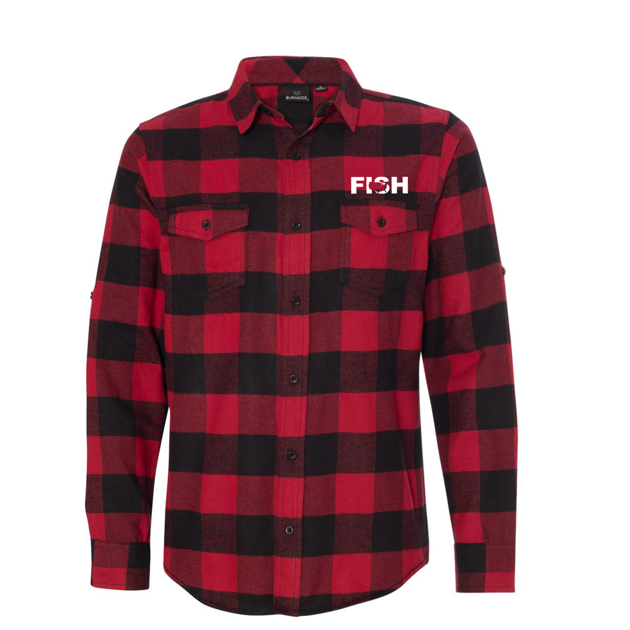 Fish United States Classic Unisex Long Sleeve Flannel Shirt Red/Black Buffalo (White Logo)