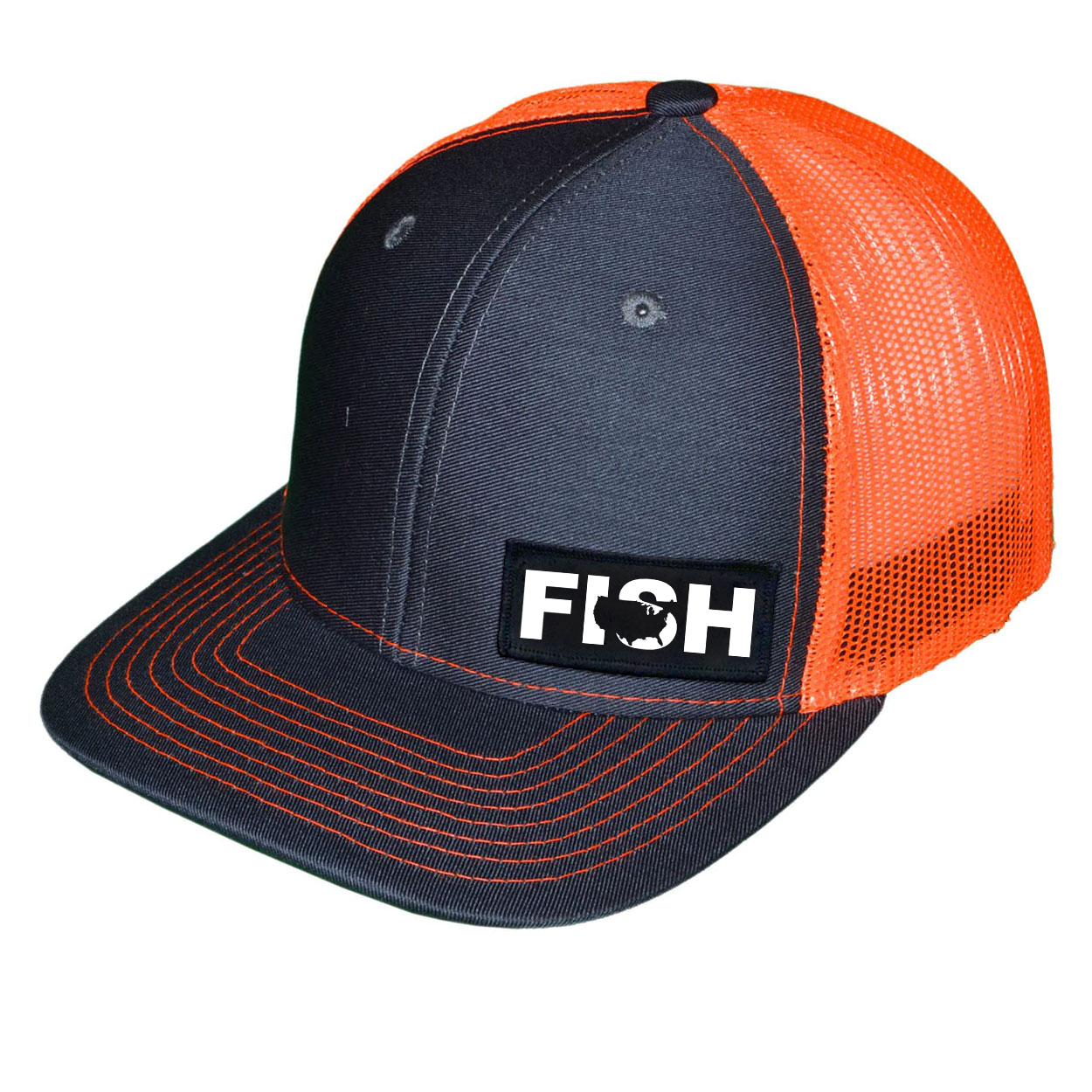 Fish United States Night Out Woven Patch Snapback Trucker Hat Dark Gray/Orange (White Logo)