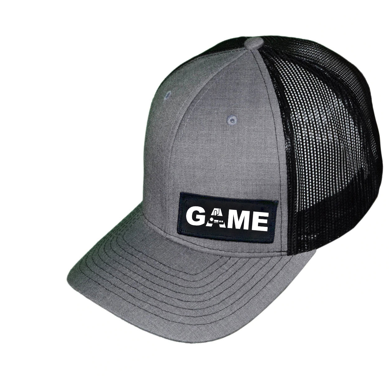 Game Controller Logo Night Out Woven Patch Snapback Trucker Hat Heather Gray/Black (White Logo)