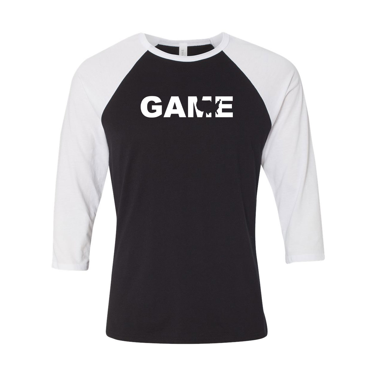 Game United States Classic Raglan Shirt Black/White (White Logo)