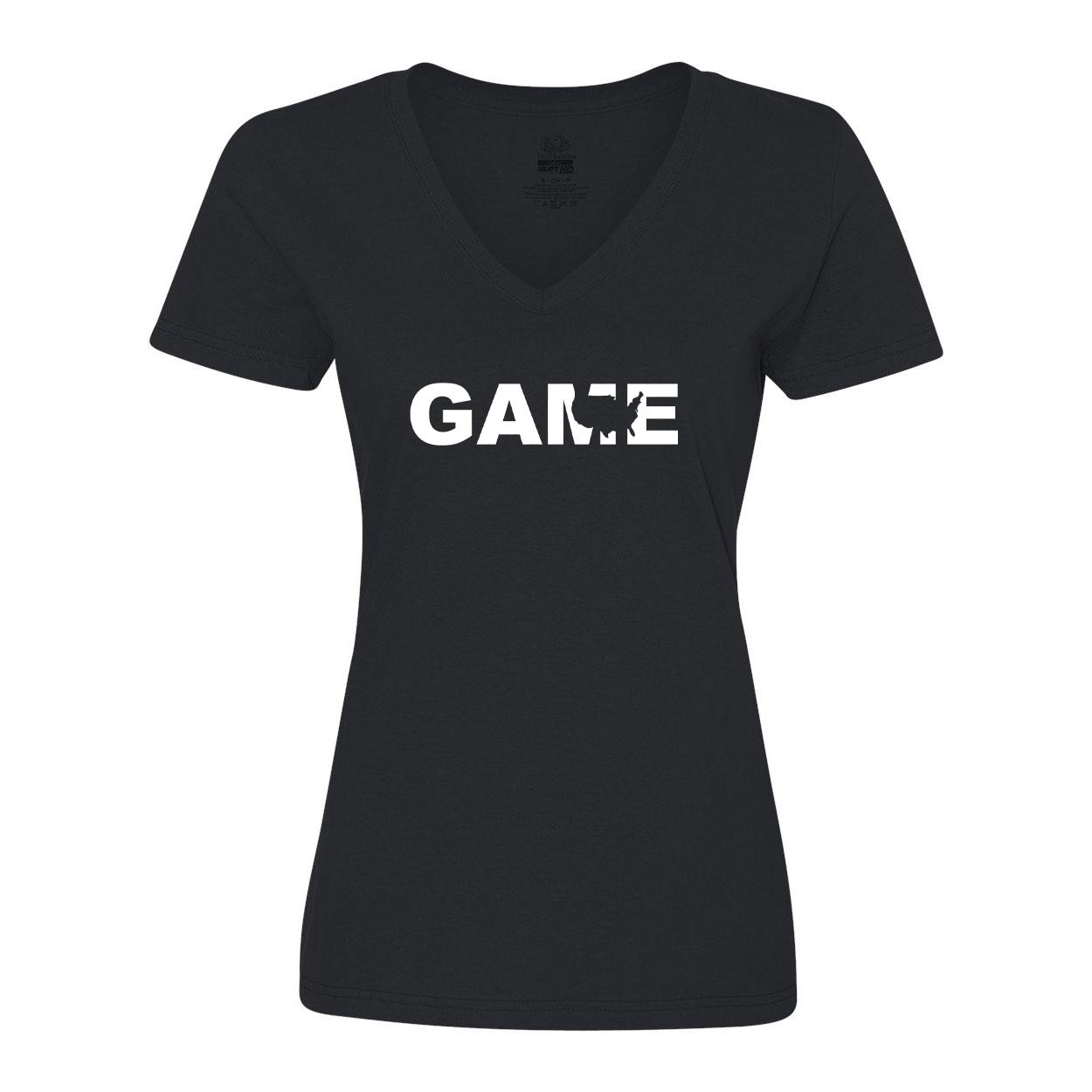 Game United States Classic Womens V-Neck Shirt Black (White Logo)