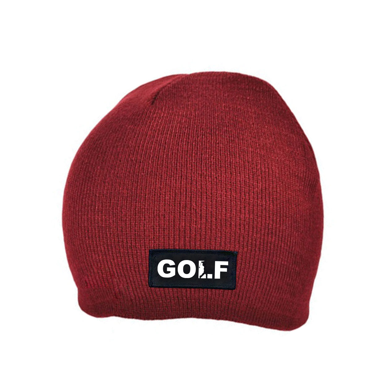 Golf Swing Logo Night Out Woven Patch Skully Beanie Maroon (White Logo)