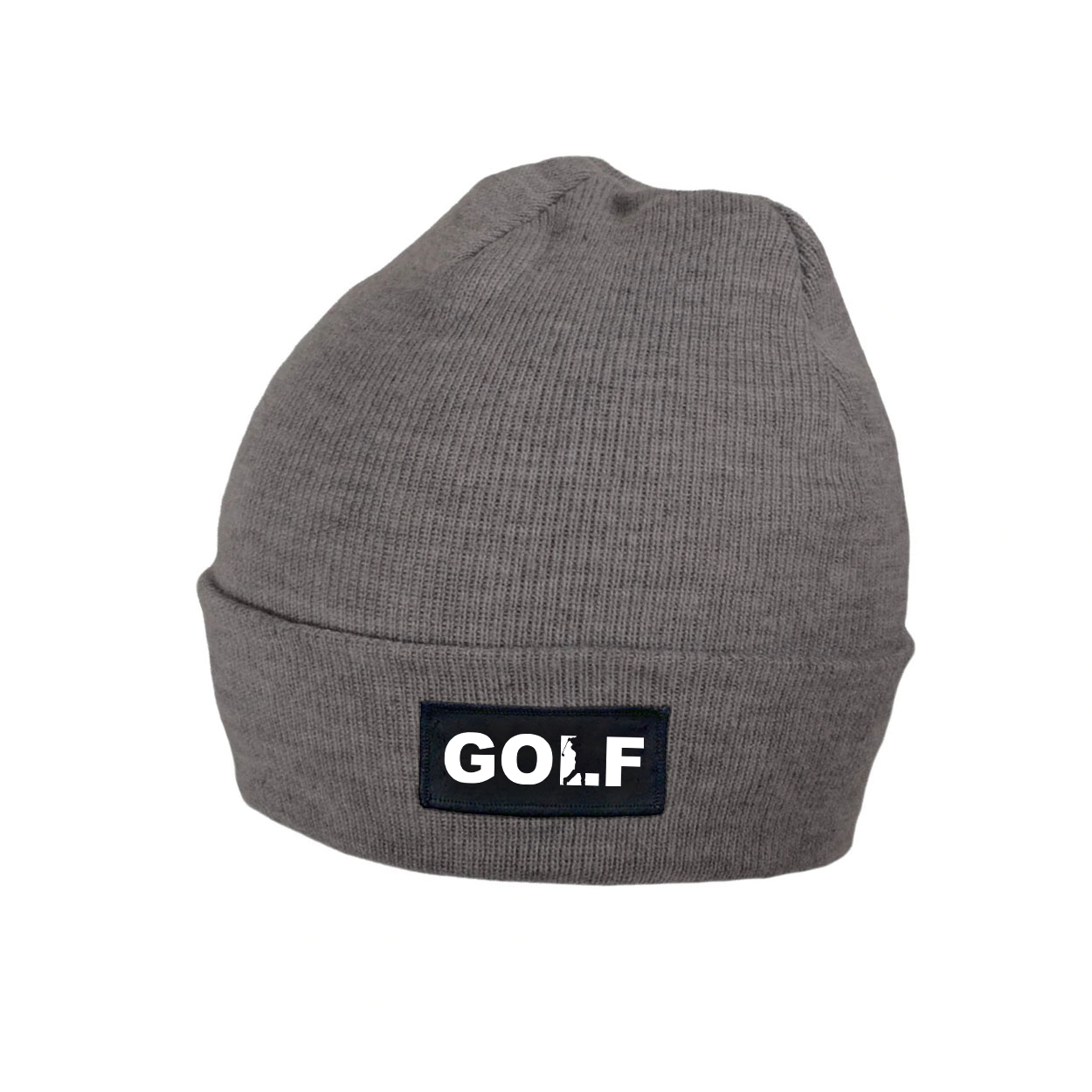 Golf Swing Logo Night Out Woven Patch Roll Up Skully Beanie Heather Gray (White Logo)