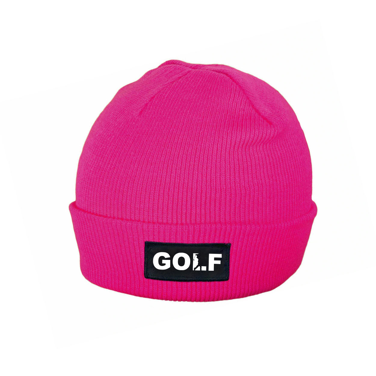 Golf Swing Logo Night Out Woven Patch Roll Up Skully Beanie Heather Fuchsia (White Logo)