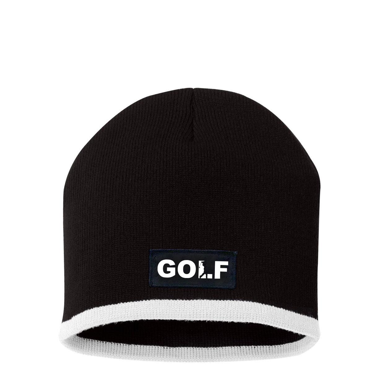 Golf Swing Logo Night Out Woven Patch Skully Beanie Black/White (White Logo)