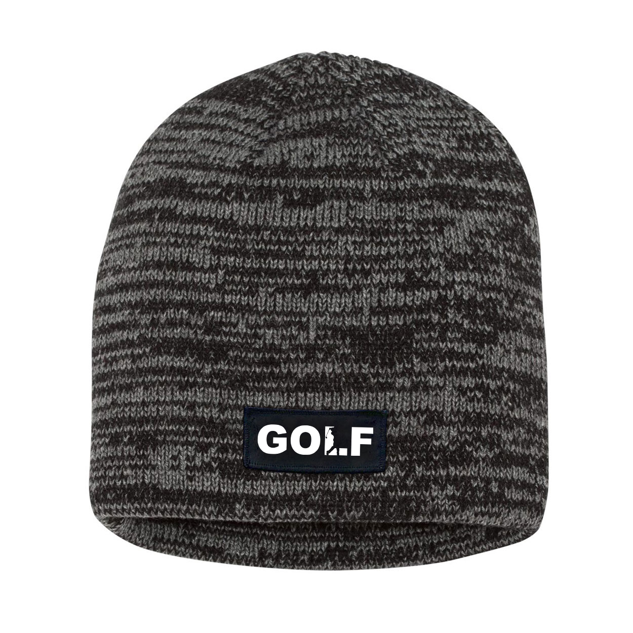 Golf Swing Logo Night Out Woven Patch Skully Marled Knit Beanie Black/Gray (White Logo)
