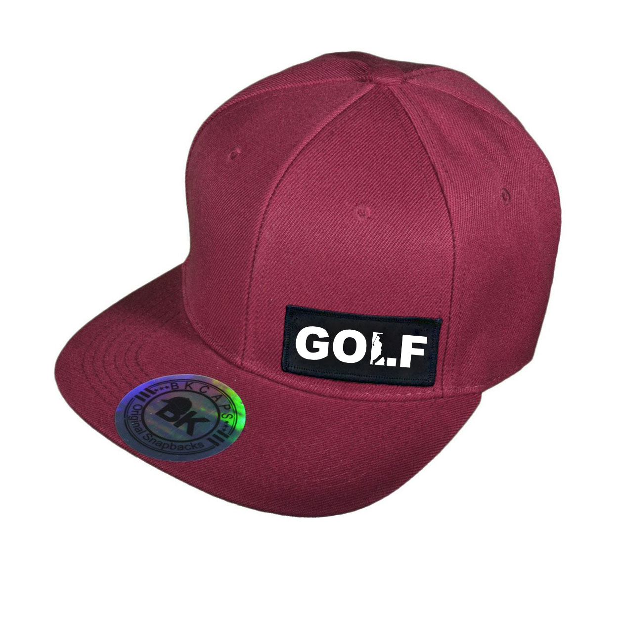 Golf Swing Logo Night Out Woven Patch Snapback Flat Brim Hat Burgundy (White Logo)