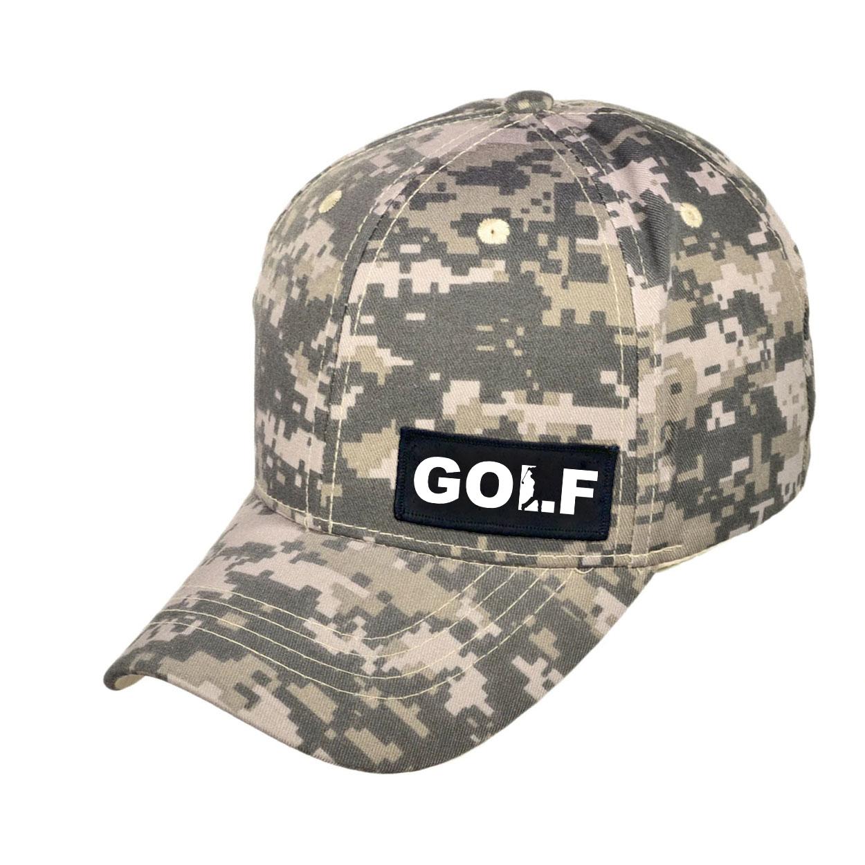 Golf Swing Logo Night Out Woven Patch Hat Digital Camo (White Logo)