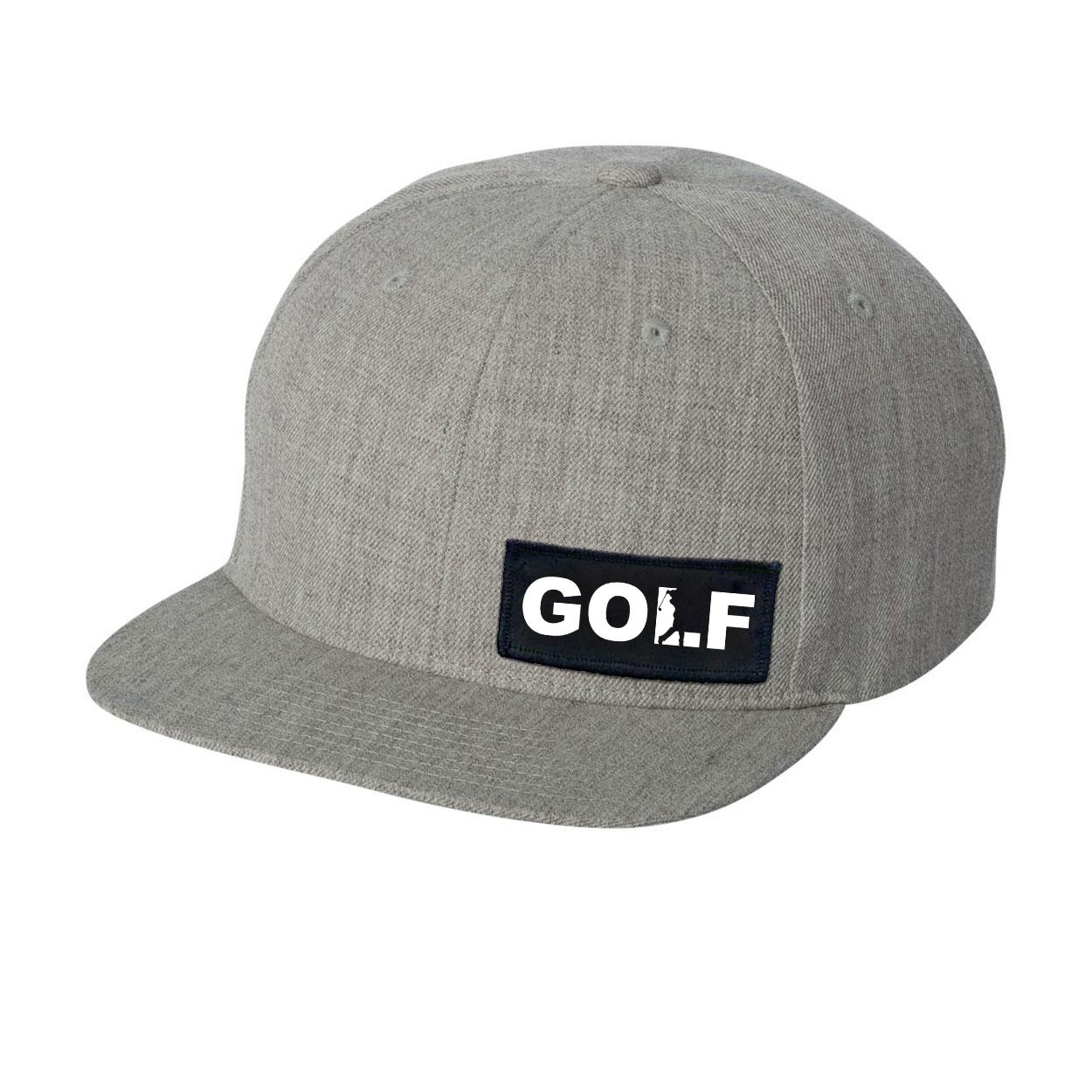 Golf Swing Logo Night Out Woven Patch Flat Brim Snapback Hat Heather Gray (White Logo)