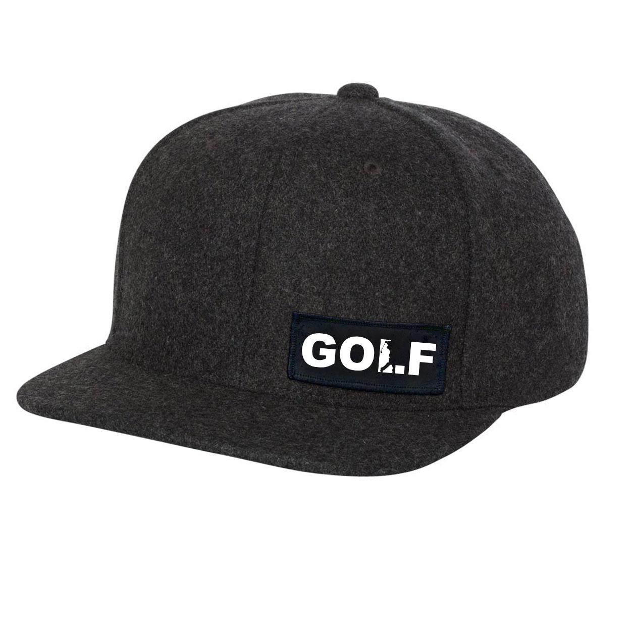 Golf Swing Logo Night Out Woven Patch Flat Brim Snapback Hat Dark Heather Gray Wool (White Logo)