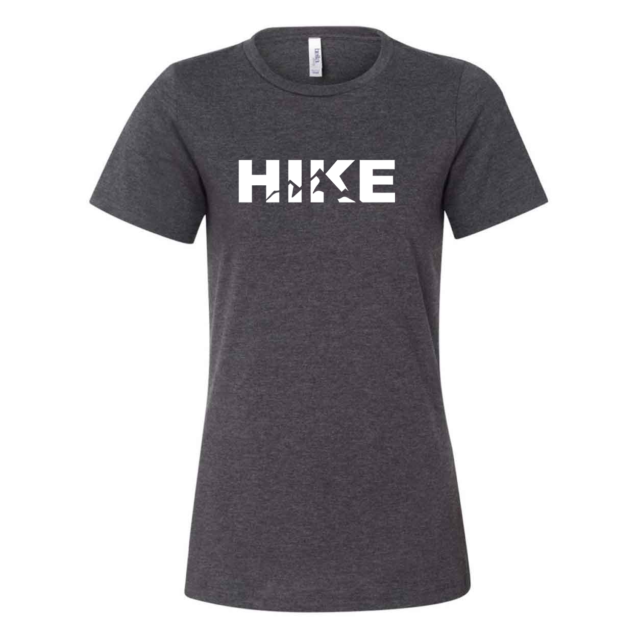 Hike Mountain Logo Classic Women's Relaxed Jersey T-Shirt Dark Gray Heather (White Logo)