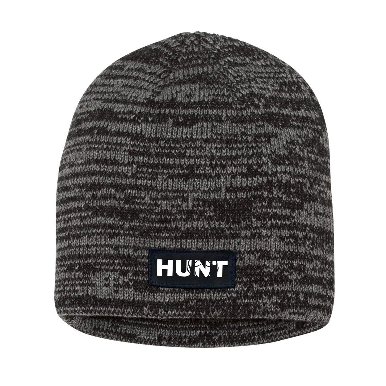 Hunt Rack Logo Night Out Woven Patch Skully Marled Knit Beanie Black/Gray (White Logo)