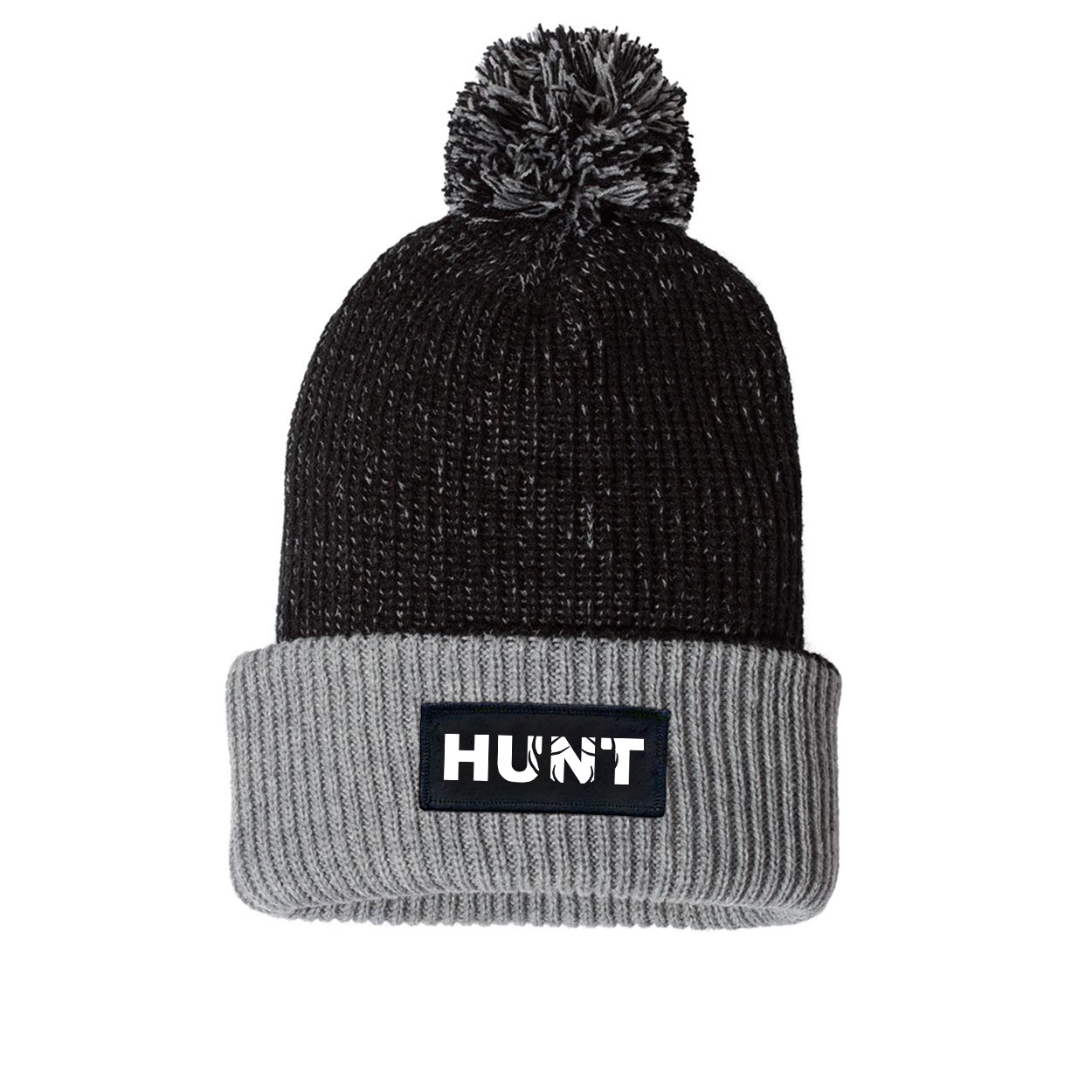Hunt Rack Logo Night Out Woven Patch Roll Up Pom Knit Beanie Black/Gray (White Logo)