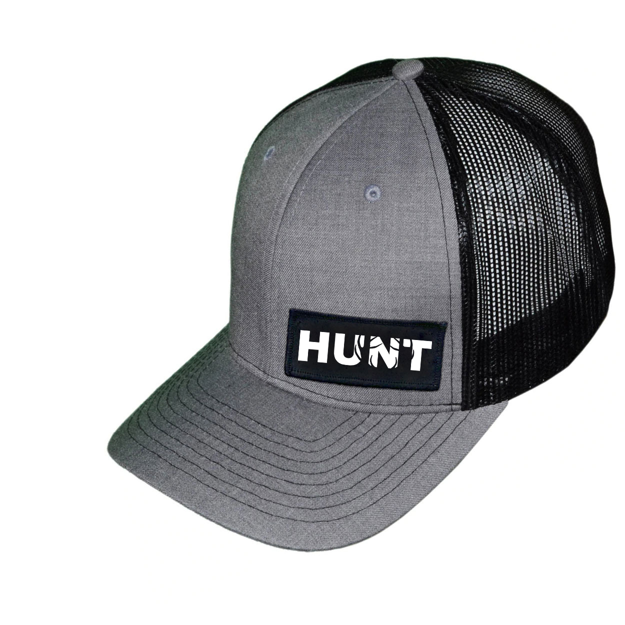 Hunt Rack Logo Night Out Woven Patch Snapback Trucker Hat Heather Gray/Black (White Logo)