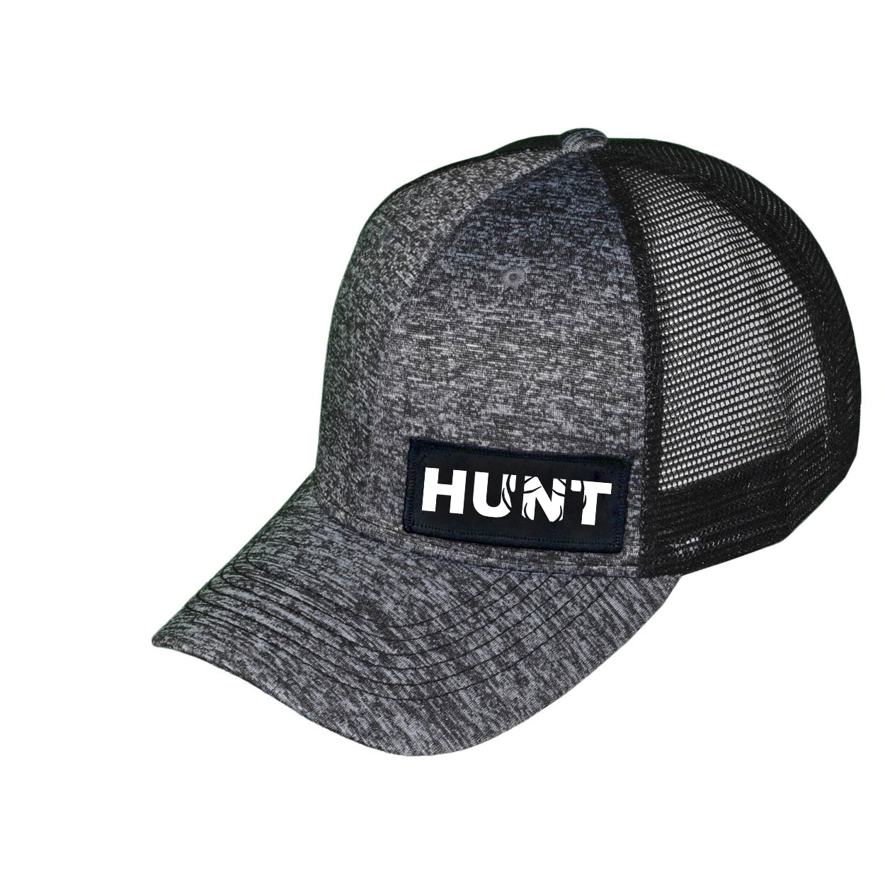 Hunt Rack Logo Night Out Woven Patch Melange Snapback Trucker Hat Gray/Black (White Logo)