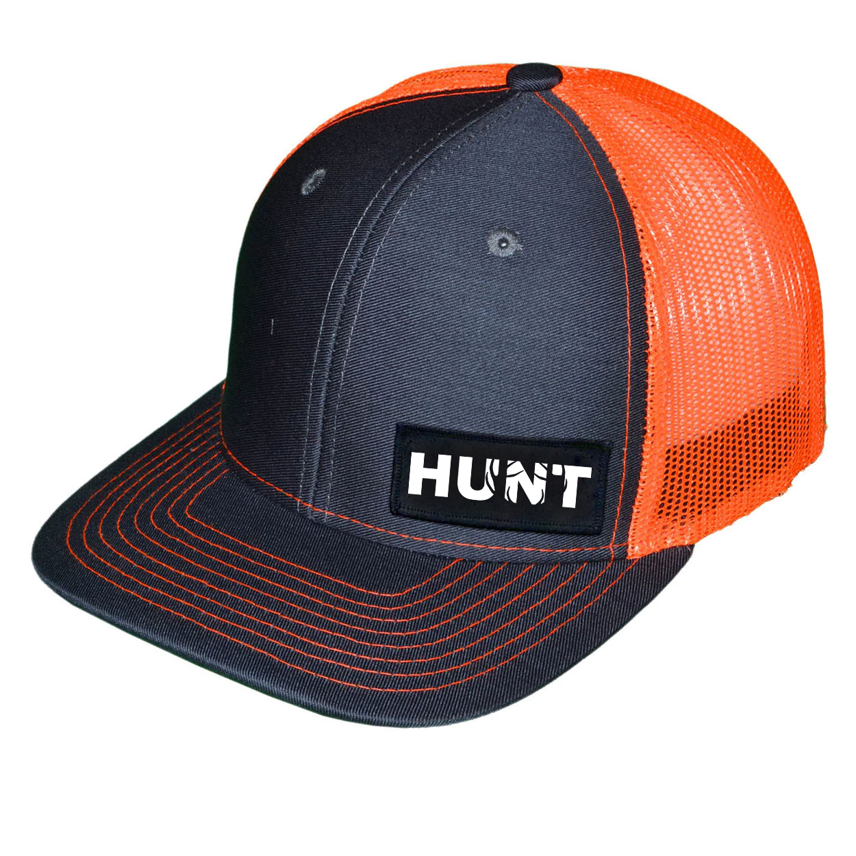 Hunt Rack Logo Night Out Woven Patch Snapback Trucker Hat Dark Gray/Orange (White Logo)
