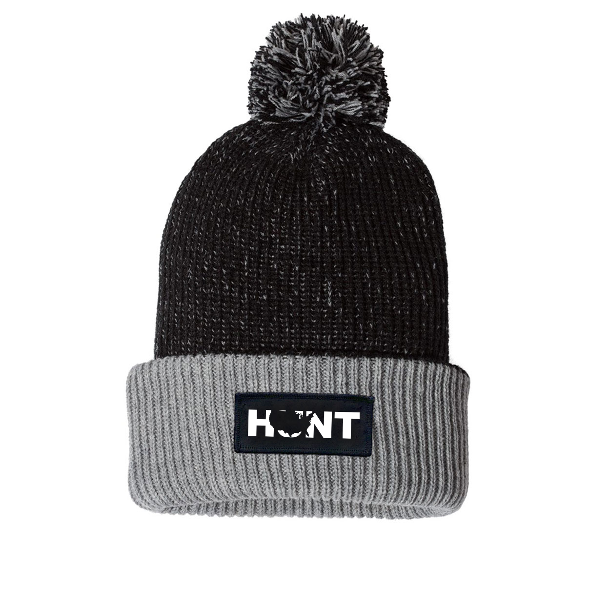 Hunt United States Night Out Woven Patch Roll Up Pom Knit Beanie Black/Gray (White Logo)