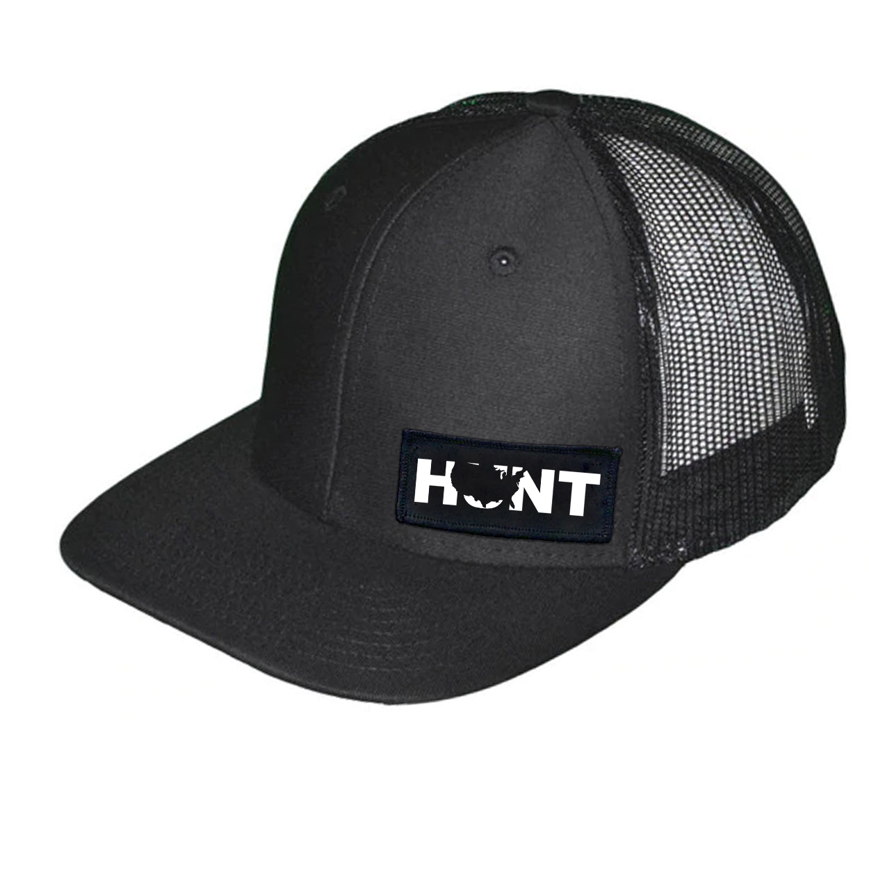 Hunt United States Night Out Woven Patch Snapback Trucker Hat Black (White Logo)