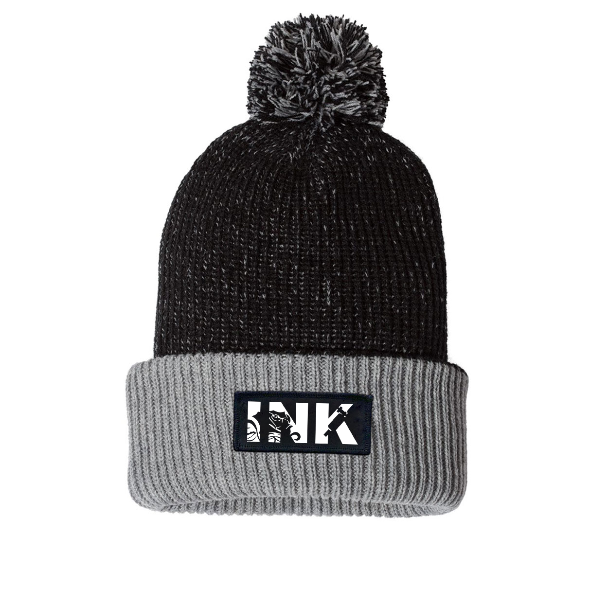 Ink Tattoo Logo Night Out Woven Patch Roll Up Pom Knit Beanie Black/Gray (White Logo)