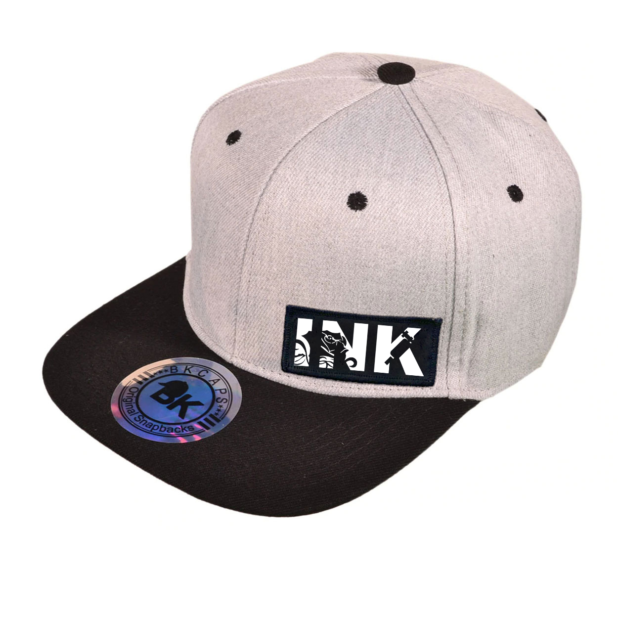 Ink Tattoo Logo Night Out Woven Patch Snapback Flat Brim Hat Heather Gray/Black (White Logo)