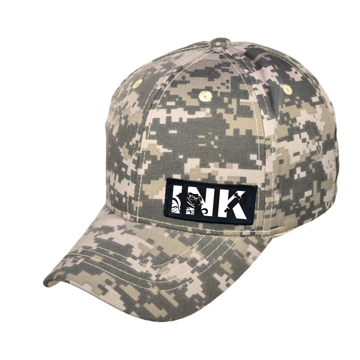 Ink Tattoo Logo Night Out Woven Patch Hat Digital Camo (White Logo)