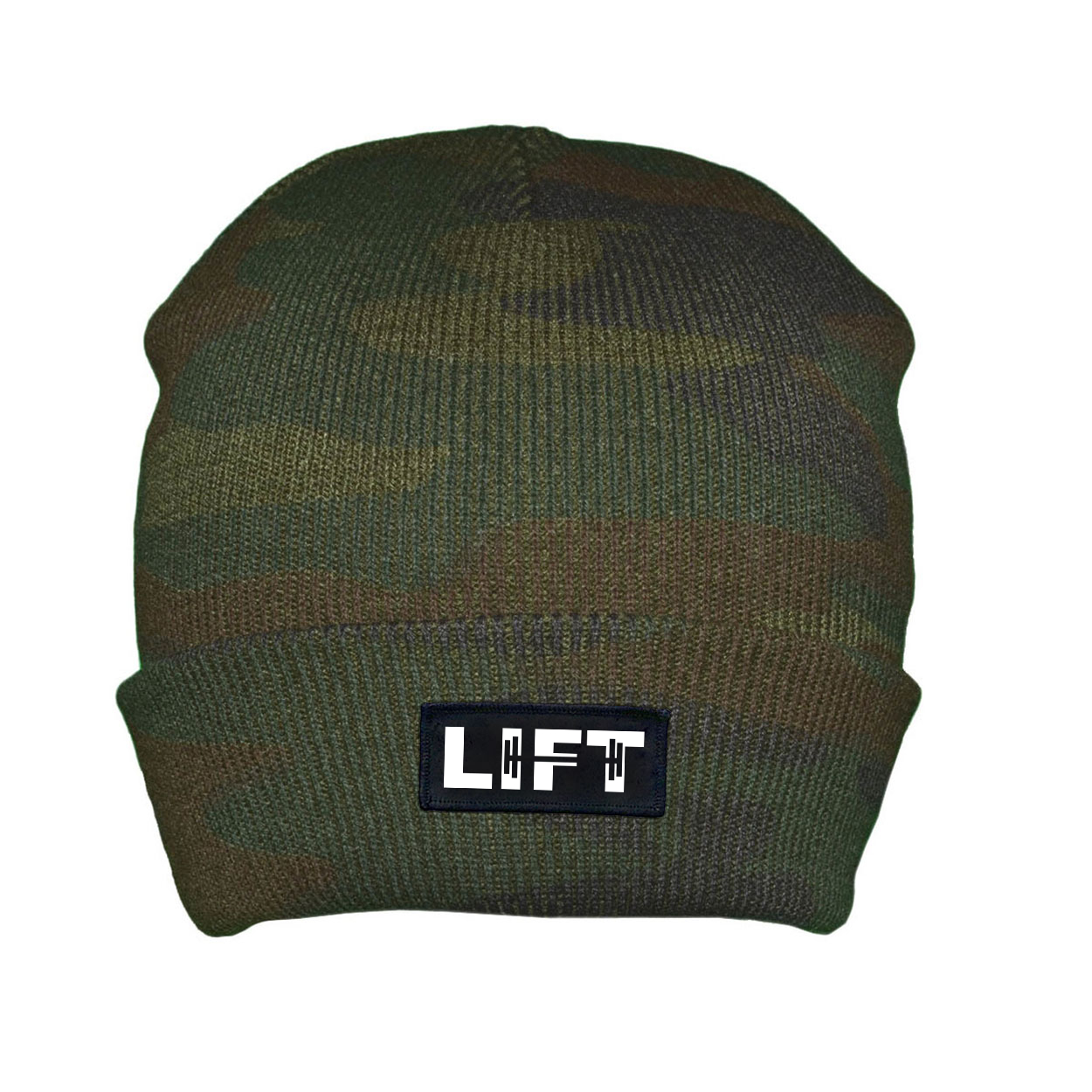 Lift Barbell Logo Night Out Woven Patch Roll Up Skully Beanie Camo (White Logo)