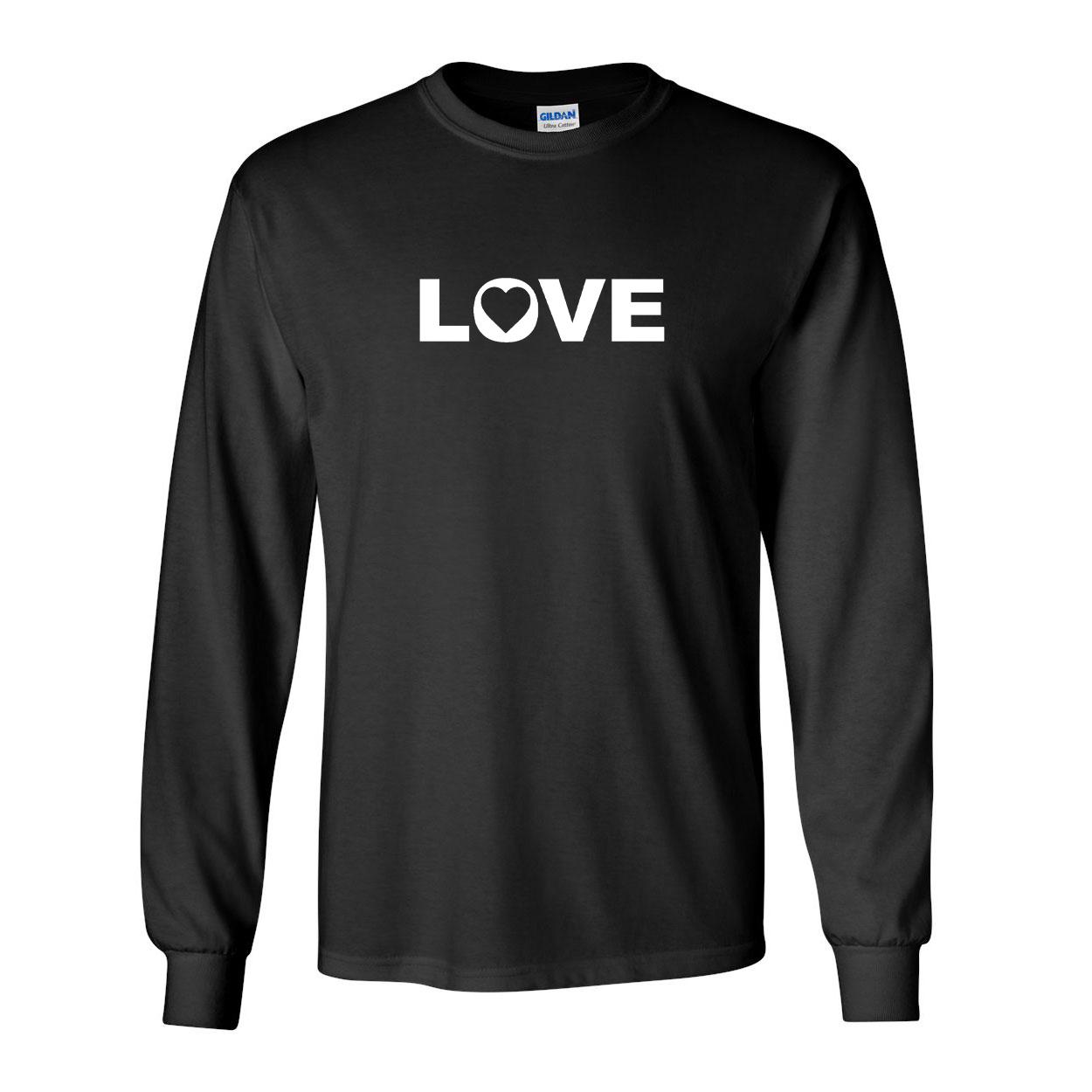 Love Heart Logo Classic Long Sleeve T-Shirt Black (White Logo)