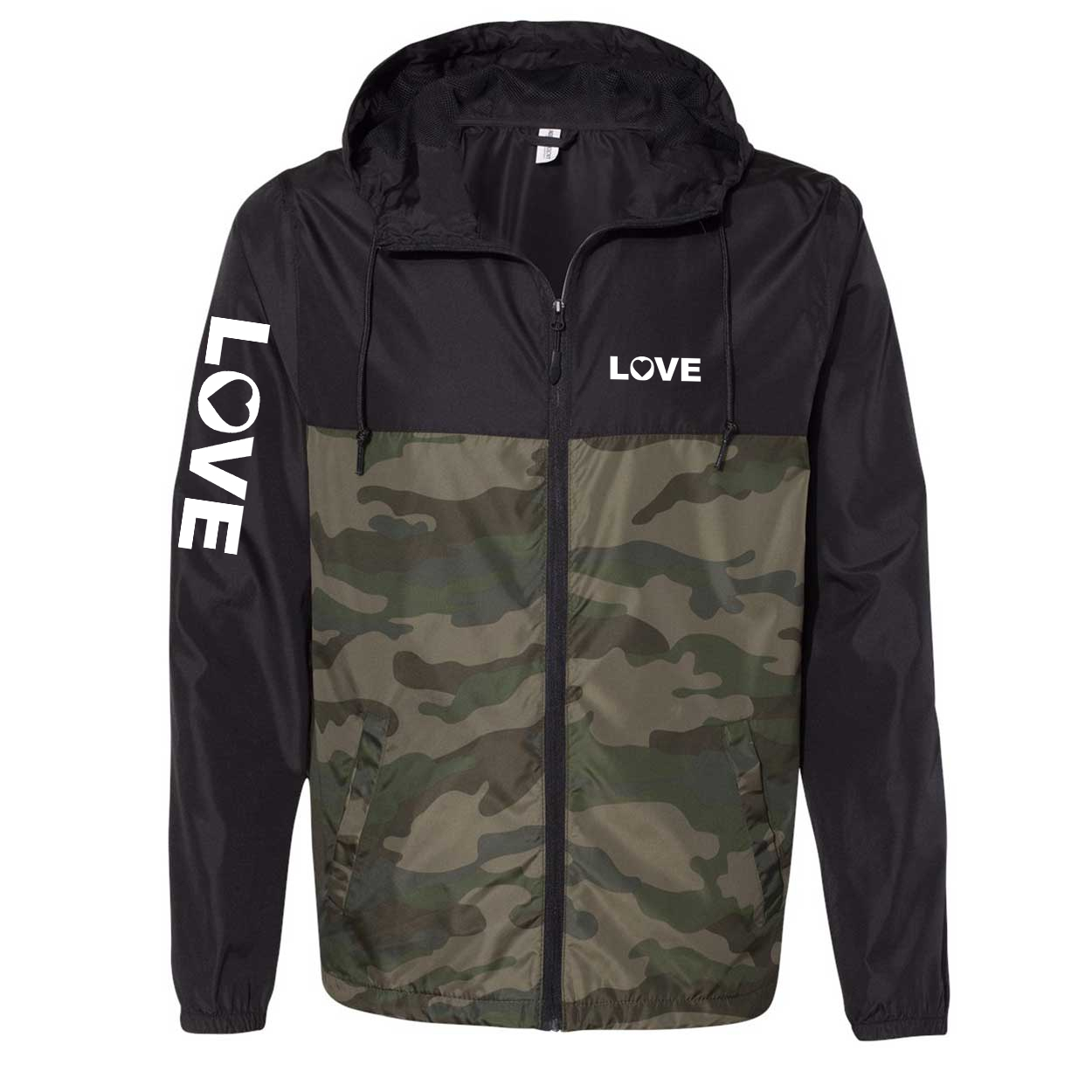 Love Heart Logo Classic Lightweight Windbreaker Black/Forest Camo (White Logo)