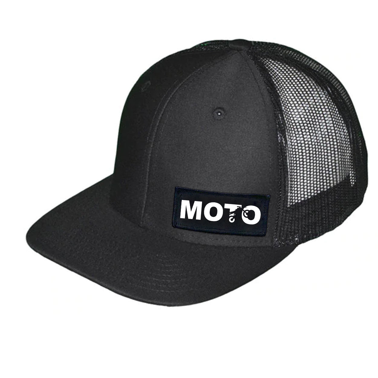 Moto Wheelie Logo Night Out Woven Patch Snapback Trucker Hat Black (White Logo)