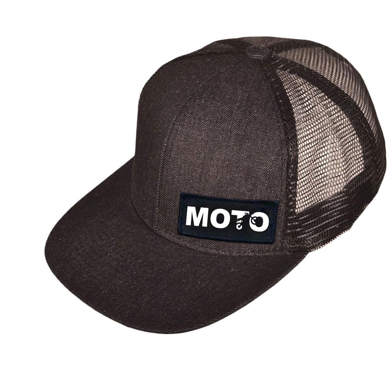 Moto Wheelie Logo Night Out Woven Patch Snapback Flat Brim Hat Black Denim (White Logo)