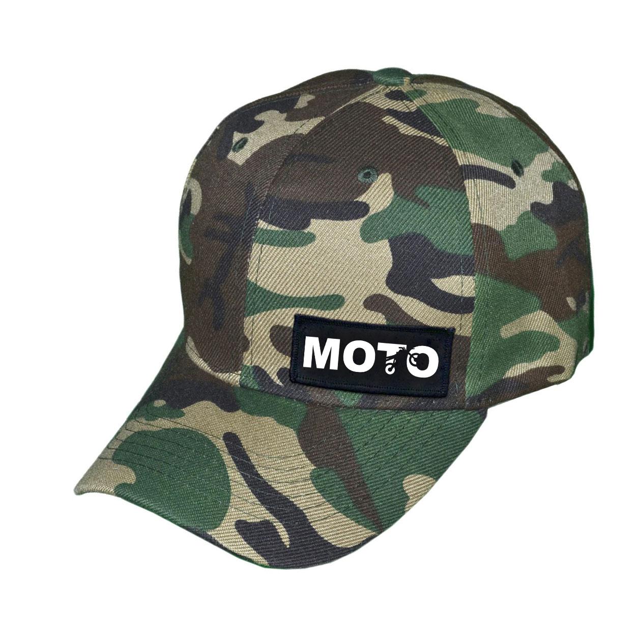 Moto Wheelie Logo Night Out Woven Patch Hat Camo (White Logo)