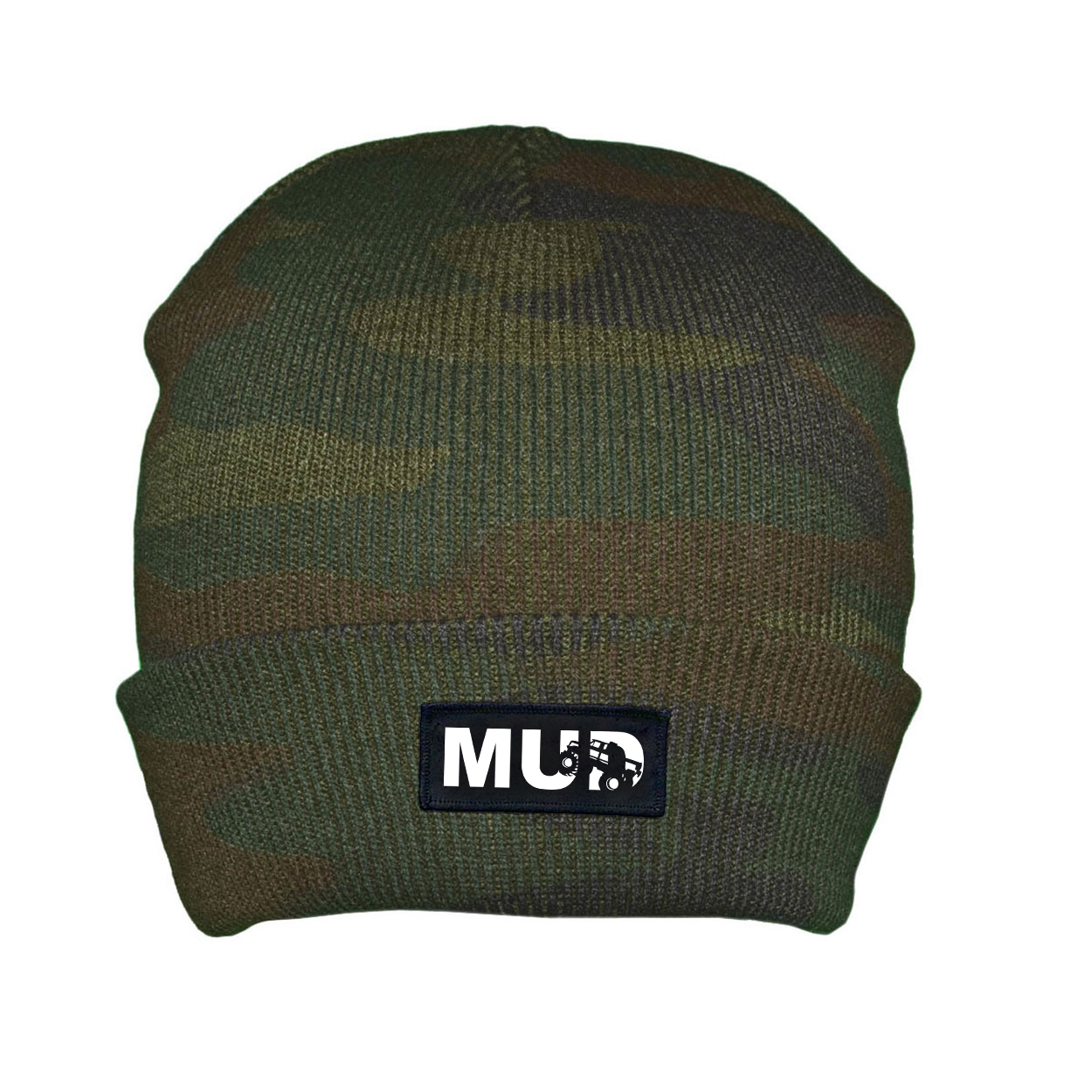 Mud Truck Logo Night Out Woven Patch Roll Up Skully Beanie Camo (White Logo)