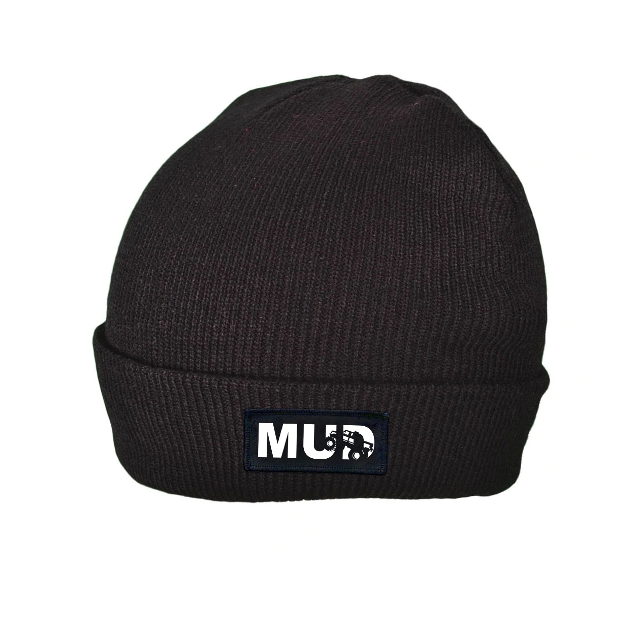 Mud Truck Logo Night Out Woven Patch Roll Up Skully Beanie Black (White Logo)