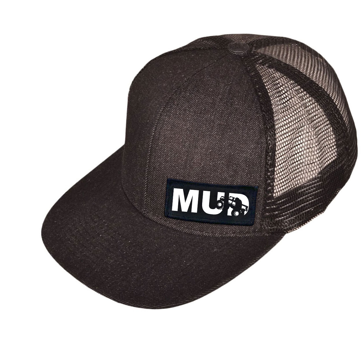 Mud Truck Logo Night Out Woven Patch Snapback Flat Brim Hat Black Denim (White Logo)